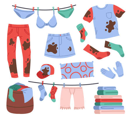 Dirty and clean laundry. Apparel in stains, dirty jeans and socks, clean clothing pile, hanging washed clothes. Laundry garments vector illustrations. Basket with things, drying rope with pins