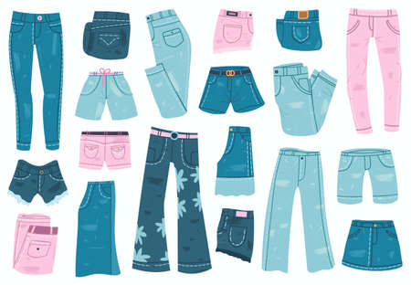 Jeans clothes. Denim trousers, shorts and skirt, blue jeans unisex apparel. Stylish casual denim garments vector illustration set. Trendy clothing, basic outfit objects for man and woman