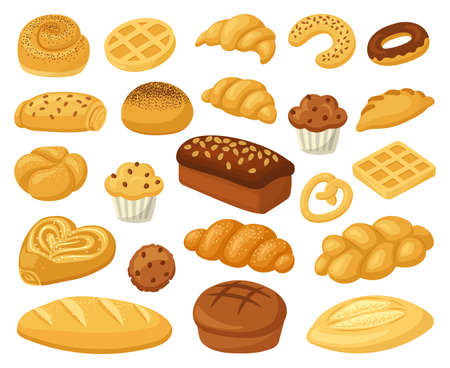 Cartoon bakery food. Pastry products, bread loaf, french baguette, and croissant. Bakery whole grain and wheat products vector illustration set. Sweet donut and cupcake, buns assortment for shop