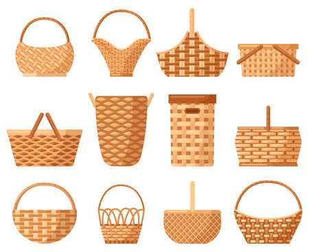 Wicker decorative basket. Traditional picnic willow basket with handle, baskets for outdoor dining. Wicker hampers vector illustration set. Empty straw hampers for food and products