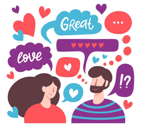 Chatting couple. Male and female romantic online dating, love messages, cute chatting lovers characters. Virtual relationships vector illustration. Man and woman with cute speech bubbles 矢量图像