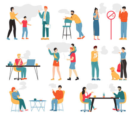 Smoking people. Male and female smoking characters, unhealthy lifestyle, bad habits. People smoke cigarettes vector illustration. Man and woman smoking in public zone, passive smokers