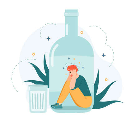Alcohol addiction. Drunk man inside alcohol bottle, bad habit and unhealthy lifestyle, alcohol addicted frustrated person vector illustration. Young male character having depression
