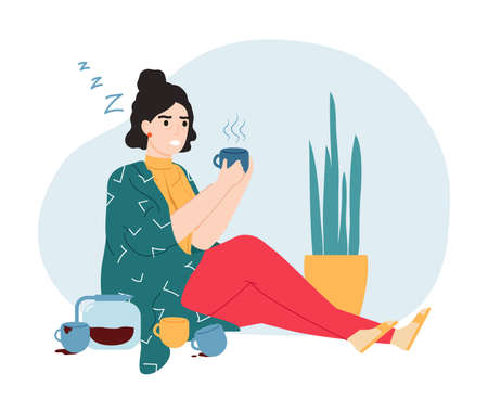 Caffeine addiction. Sleepy and tired woman with caffeine dependence, abnormal behaviour and unhealthy lifestyle concept vector illustration. Depressed girl holding cup with beverage