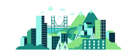 City landscape with high glass buildings, green hills and mountains. Modern city with wild nature, trees, lawns and contemporary urban skyscrapers, town background vector illustration Ilustração