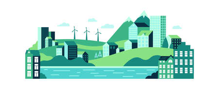 Eco urban city landscape with buildings, hills and mountains. Ecological sustainable energy supply with windmills. Town with green wild nature, lawns, river and wind turbines vector illustration