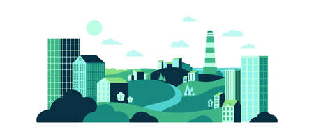 Town with wild nature and urban glass buildings. Eco city landscape with green lawns and hills, water tower and houses. Green energy and eco friendly city background vector illustration Ilustração