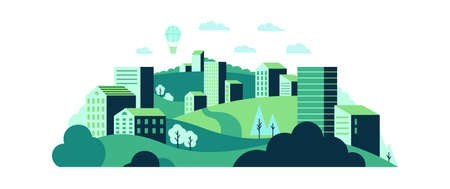 Ecological city landscape with green wild nature and urban houses. Tree plants and hills with green grass. Hot air balloon flying in sky among clouds. Town with greenery vector illustration Vector Illustratie