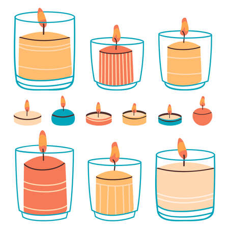 Wax candles. Aromatic hand drawn decorative candles in glass and water candles. Burning candles vector illustration set. Hygge cozy interior decoration. Holiday elements, objects for spa therapy Vettoriali