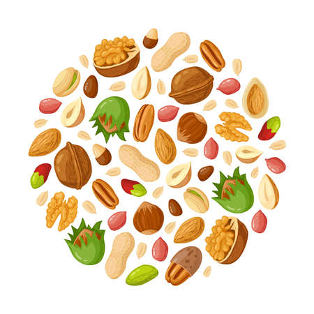 Cartoon seeds and nuts. Almond, peanut, cashew, sunflower seeds, hazelnut and pistachio. Nut food vector illustration set. Healthy and organic eating. Natural, tasty snack mix with shells