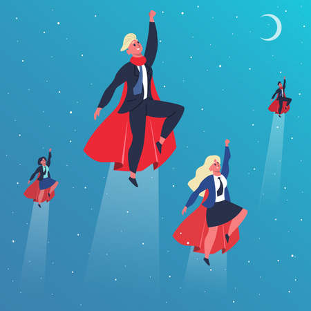 Business superheroes. Flying superhero characters, superheroes fly in action poses. Superhero teamwork and leadership concept vector illustration. Professional team with office employees in cloaks