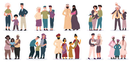 Happy families. Large families together, mom, dad and children, smiling mother, father and kids vector illustrations. Cartoon multiracial families. Parents and kids from different countries