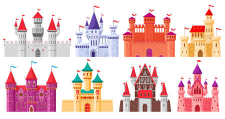 Cartoon medieval castles. Fairytale medieval towers, historical royal kingdom castles. Ancient fortress castles cartoon vector illustration set. Old citadel with gothic architecture Illusztráció