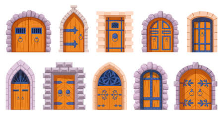 Castle medieval doors. Cartoon ancient fortress wooden gates, medieval kingdom castles gate vector illustration set. Medieval tower arch doors. Stone arch with metal hinges for entry