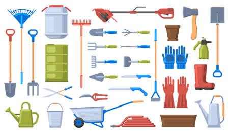 Gardening tools. Garden work equipment, shovel, rake, wheelbarrow, gloves and pruner. Agriculture gardening work tools vector illustration set. Wheelbarrow and pruner equipment fot gardening