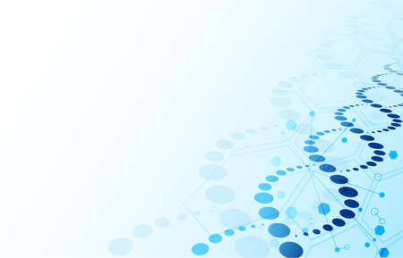 DNA background. Blue abstract helix biotechnology and hexagon molecular texture with copy space for text, genome engineering vector concept. Human genetic helix for medicine and science