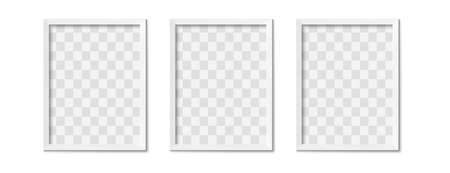 White photo frames. Empty gray simple image square border with shadow on gallery wall. Isolated picture framing design vector realistic 3D mockup. Rectangle picture border hanging in raw