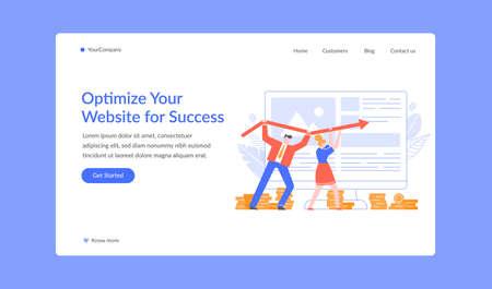 Oprtimize website for success landing page, seo. Vector web optimization in internet, rise marketing business online illustration Illustration