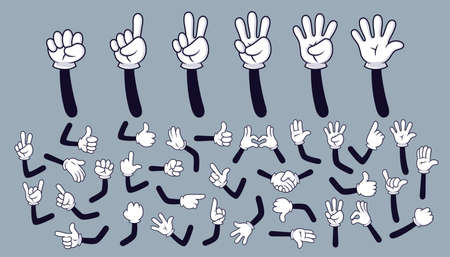 Cartoon hands. Comic arms with four and five fingers in white glove with various gestures, cartoon character body parts. Isolated vector set. Gesture hand finger count, thumb gesturing illustration Vektorové ilustrace
