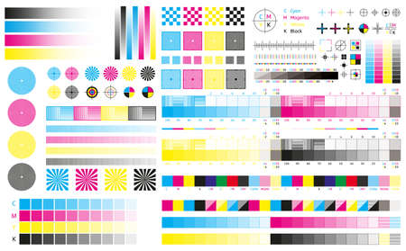 Printing cmyk marks. Offset print calibration marks, gradient color tone, color bars and registration plates. Color printing standard vector illustration set. Publishing graphic symbol utilities