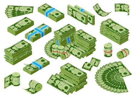 Isomeric money. Dollar banknotes piles, green dollar bills stack, earnings money treasure. Money cash capital vector illustration set. Business investment, rolls and bundles of money Vecteurs