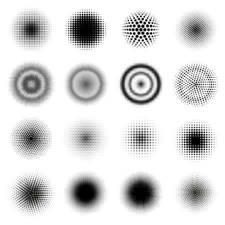 Halftone round patterns. Circle dots gradient vector frames, dotted texture halftone texture. Abstract dotted round shapes vector illustration set. Black gradient rings of dots and spots