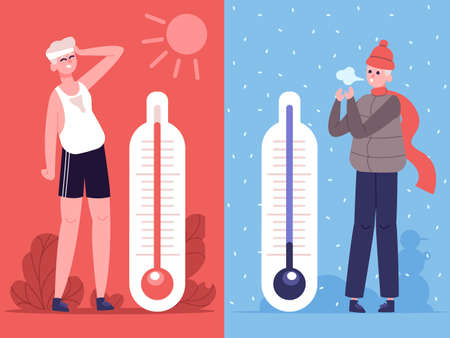 Man in hot and cold weather. Outdoor temperature thermometers, weather influence human. Male character in summer and winter season vector illustration set. Sweating and frozen guy or boy Vecteurs