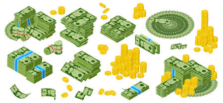 Isomeric dollar cash. Green dollar bills and golden coins piles, bundle of gold dollar coins. Cash money paper banknotes vector illustration set