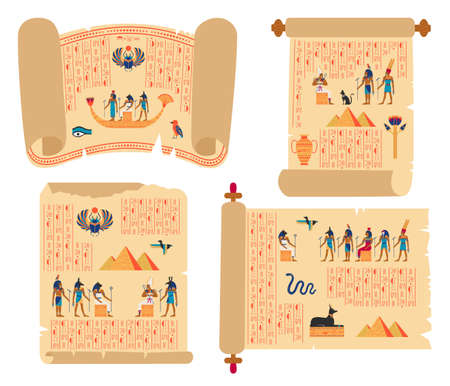 Egyptian papyrus scrolls. Ancient egypt papyrus with gods, hieroglyphics and pyramids vector illustration set. Historical ancient egyptian manuscripts Vektoros illusztráció