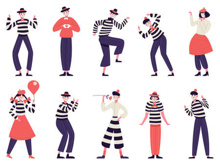 Mimes characters. Silent actors, pantomime and comedy performing, funny mimic poses. Male and female mimes characters vector illustration set