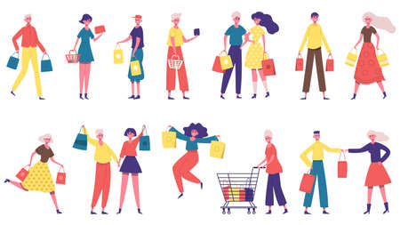 Shopping characters. Men and women carrying shopping bags, shopaholic people in market or boutique store. Happy buyers characters vector illustration set