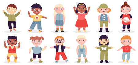 Multicultural happy kids. School girls and boys group, diverse kids characters, cute laughing children. Funny laughing babies vector illustration set