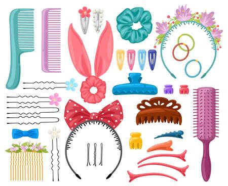Hair accessories. Woman hair items, hair clips, hairpins, hairband and hair grips, female hair tools. Fashion hair accessories vector illustration set