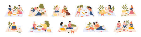 Picnic in park. Friends and couples at picnic, outdoor nature recreation, people having lunch together. Summer picnic vector illustration set