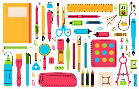 School chancellery. Pupils education hand drawn school supplies, pencil, pen, ruler, eraser and scissors vector illustration set. Back to school tools Vettoriali
