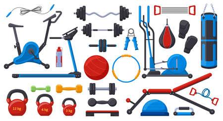 Gym fitness equipment. Sport training weights, dumbbell, barbell, gym ball, treadmill and exercise bike vector illustration set. Fitness sport equipment
