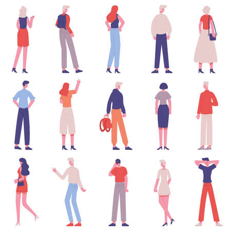 People back view. Male and female characters from back side standing together isolated vector illustration set. View from back adult people Vecteurs