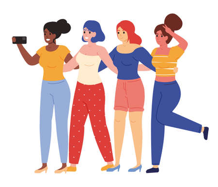 Female friends taking selfie. Happy young girlfriends posing for group selfie vector illustration. Female friendship concept