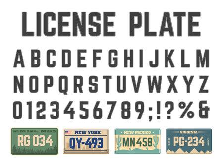 Car license plates alphabet. Vehicle registration signs latin alphabet, license plates numbers and letters vector illustration set. Automobile license numbers abc font