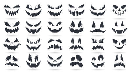 Halloween pumpkins faces. Spooky ghost emoticons faces isolated vector illustration set. Scary pumpkin faces silhouette Vektorgrafik