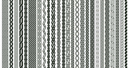 Celtic braids patterns. Braided Irish pattern seamless borders, knotted braid ornaments isolated vector illustration set. Woven celtic braids elements