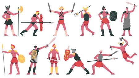 Roman gladiator characters. Ancient roman warlike gladiators, martial greek fighters cartoon isolated vector illustration set. Armed fighting warriors