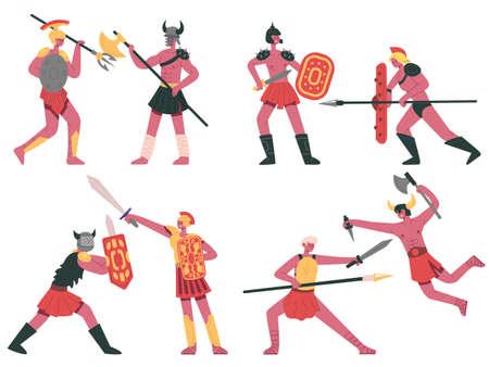 Fighting roman gladiators. Warlike armed greek warriors, roman battle gladiators cartoon vector illustration set. Ancient roman fighters