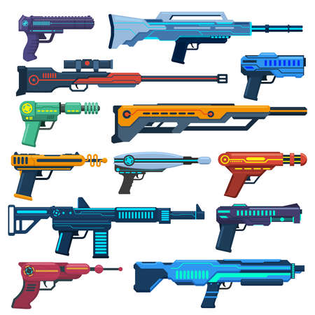 Game futuristic blasters. Space aliens laser, space blasters, guns and rifles for children playing vector illustration set. Futuristic pistols elements