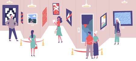 People admire classic art gallery paintings exhibition. Art gallery exposition excursion visitors vector illustration. Men and women cultural education