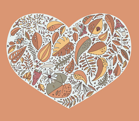 Vector illustration and pattern with plants, leaves, berries and insects.