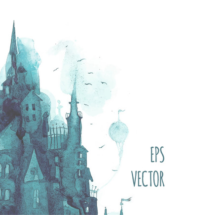 Watercolor vector print with town.