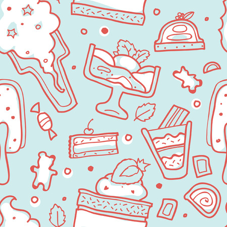 A Seamless vector background with desserts.