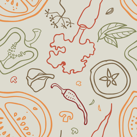 A Seamless vector background with vegetables.