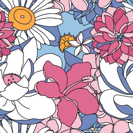Vector seamless pattern with flowers and  leaves in pastel colors. Ilustração